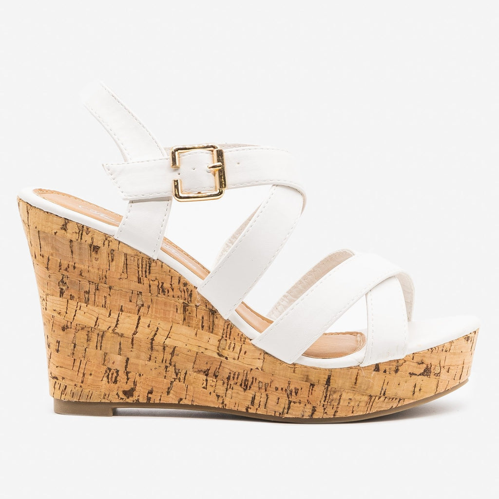 Women's Perfect Criss Cross Summer Cork Wedges - Fashion Focus - White / 5