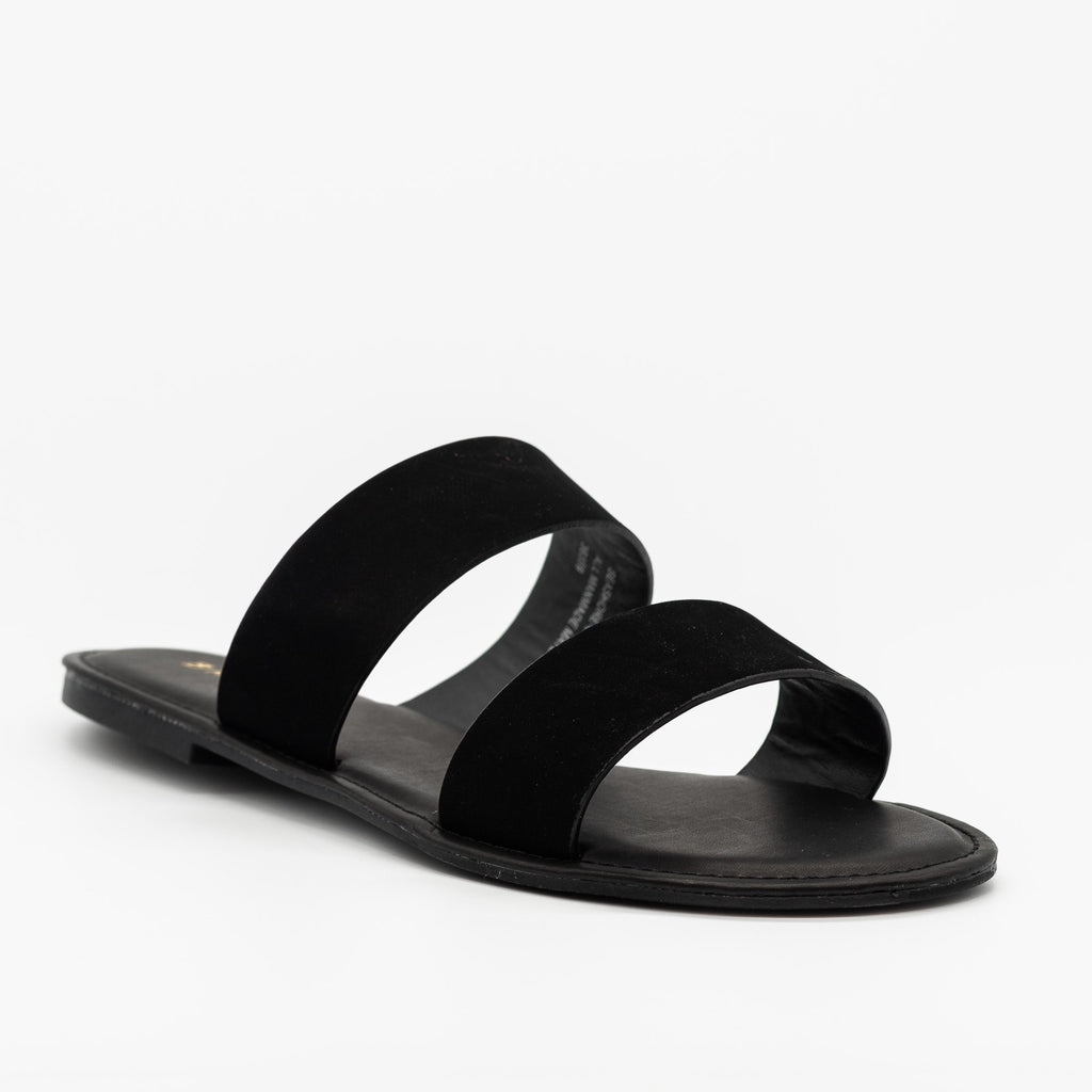 Womens Perfect Double Strap Slides - Bamboo Shoes - Black / 5