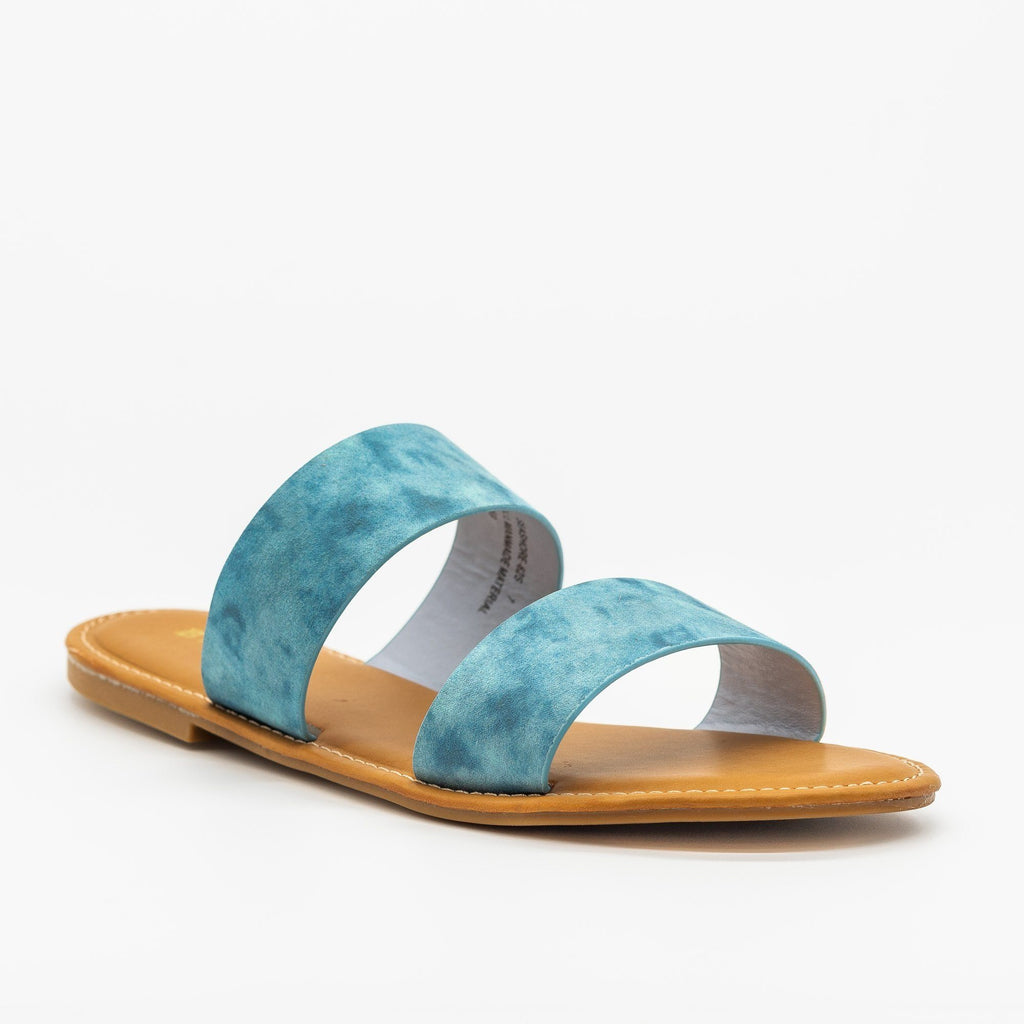 Womens Perfect Double Strap Slides - Bamboo Shoes - Blue / 5