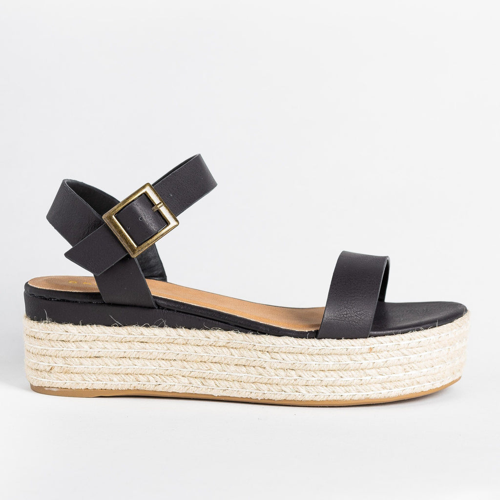 Womens Perfect Espadrille Flatforms - Bamboo Shoes - Black / 5
