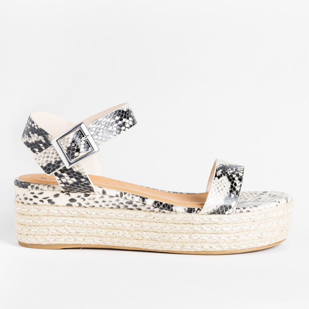 Womens Perfect Espadrille Flatforms - Bamboo Shoes - Beige Snake / 5