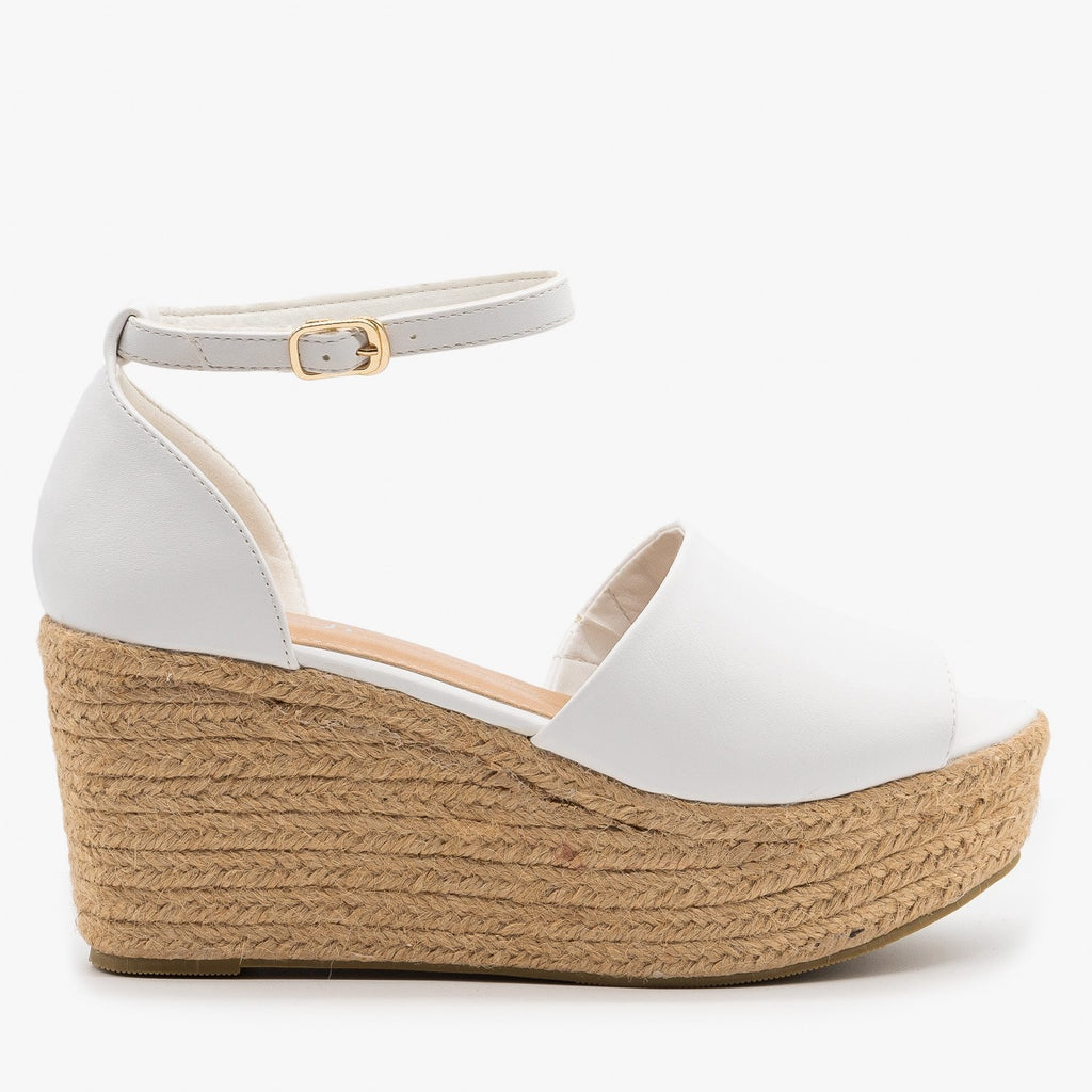 Womens Perfect Espadrille Platform Sandal Wedges - Refresh - White / 5