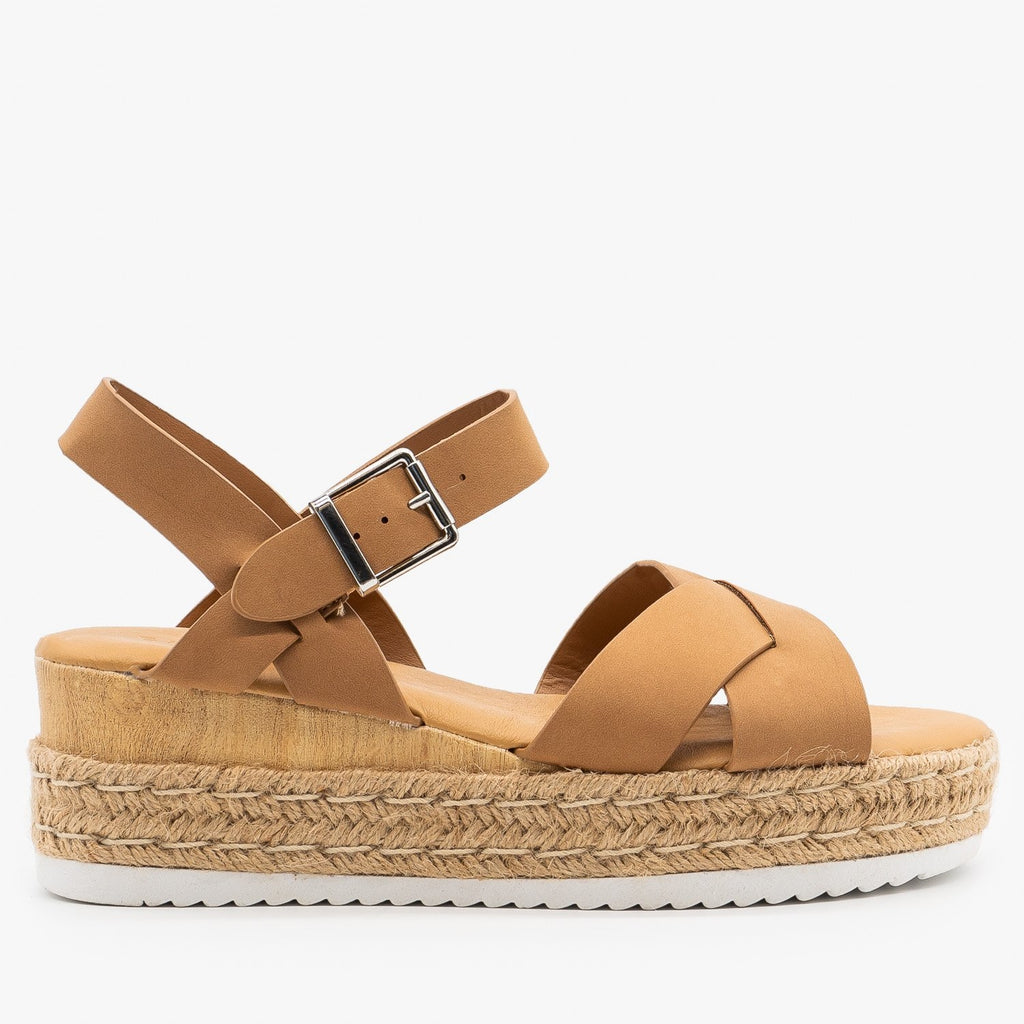 Womens Perfect Espadrille Platform Wedge Sandals - Bamboo Shoes - Camel / 5