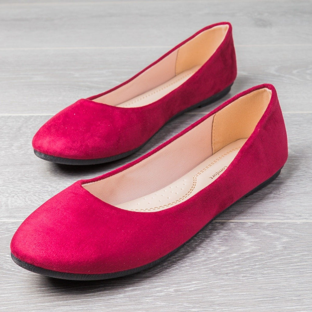 Womens Perfect Everyday Flats - Forever - Burgundy / 5