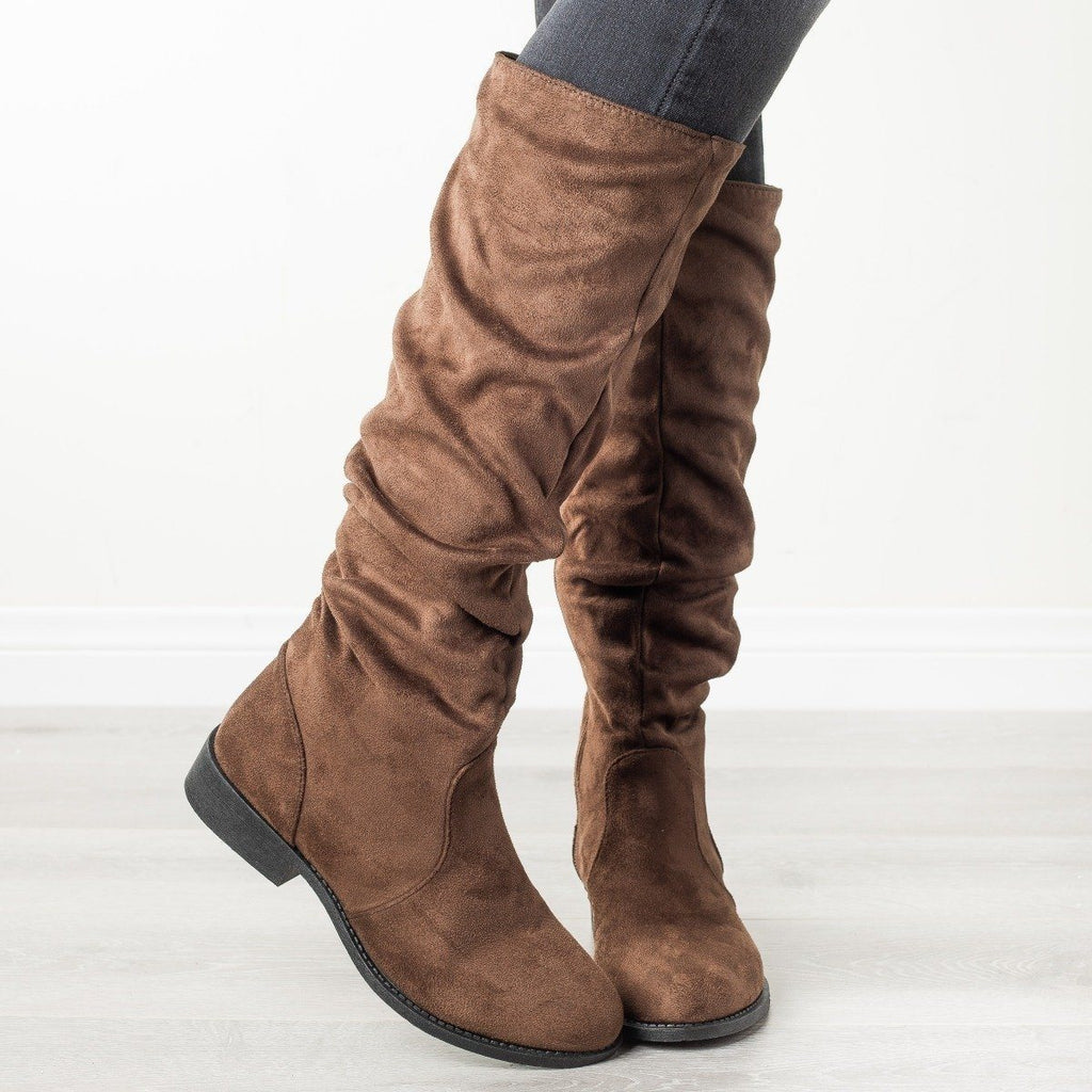 Womens Perfect Fall Fashion Boots - Qupid Shoes - Light Brown / 5
