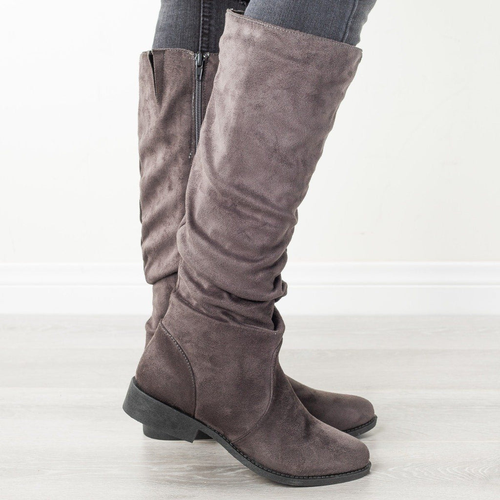 Womens Perfect Fall Fashion Boots - Qupid Shoes - Charcoal / 5