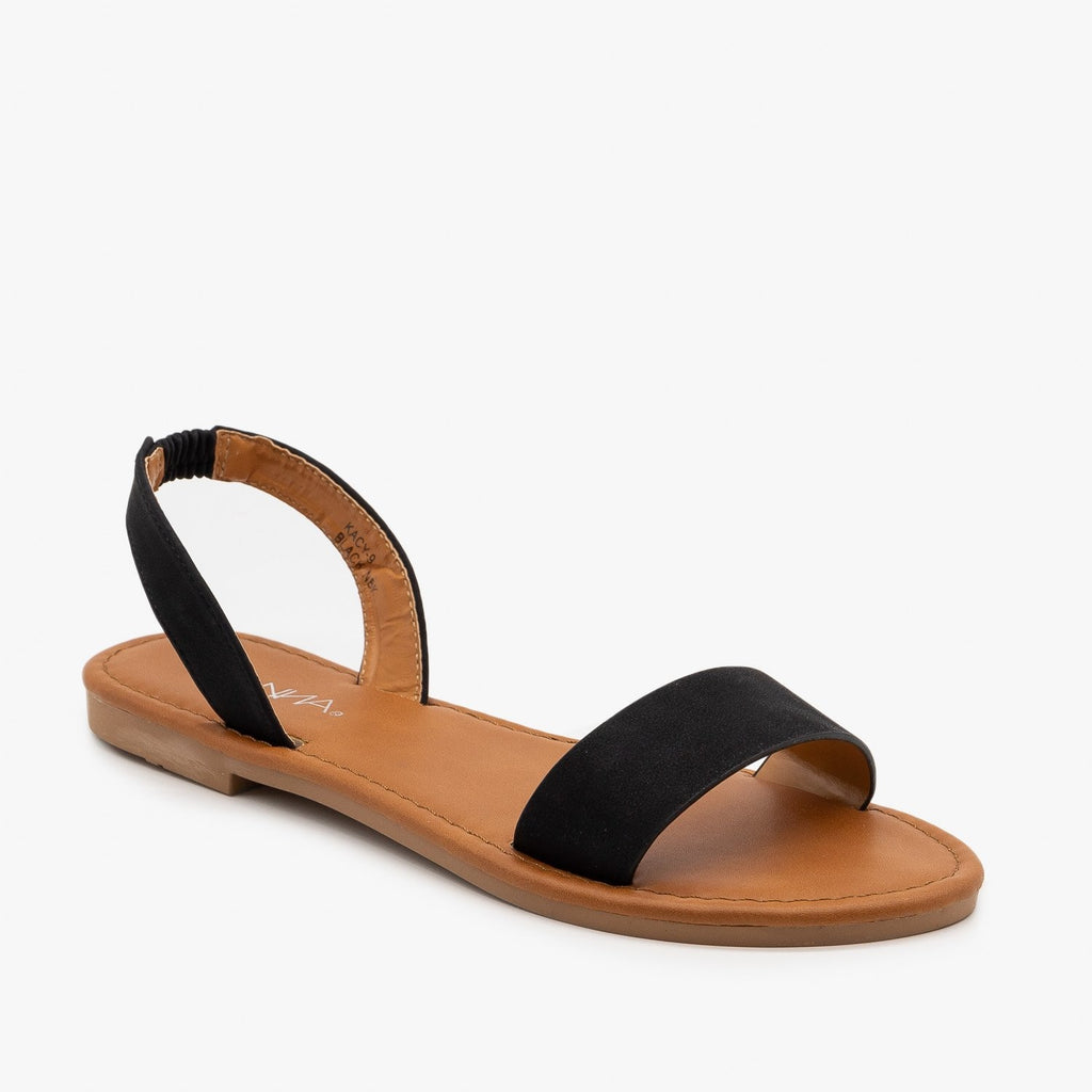 Womens Perfect Neutral Slingback Sandals - Anna Shoes - Black / 5