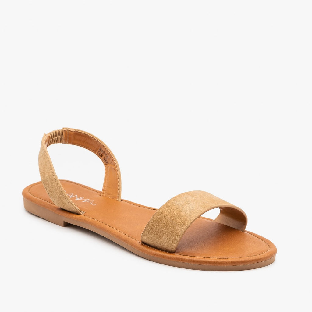 Womens Perfect Neutral Slingback Sandals - Anna Shoes - Camel / 5