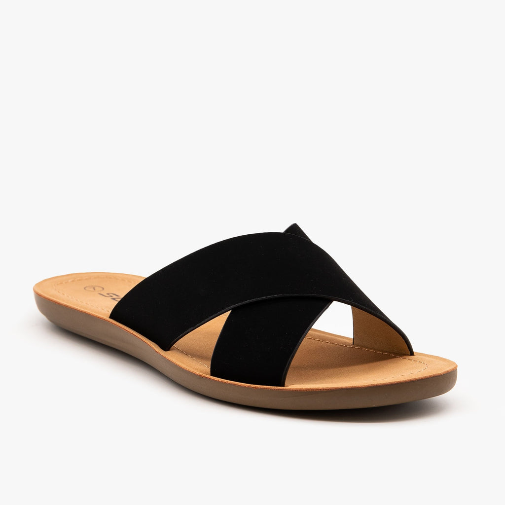 Womens Perfect Simple Sandals - Soda Shoes - Black / 5