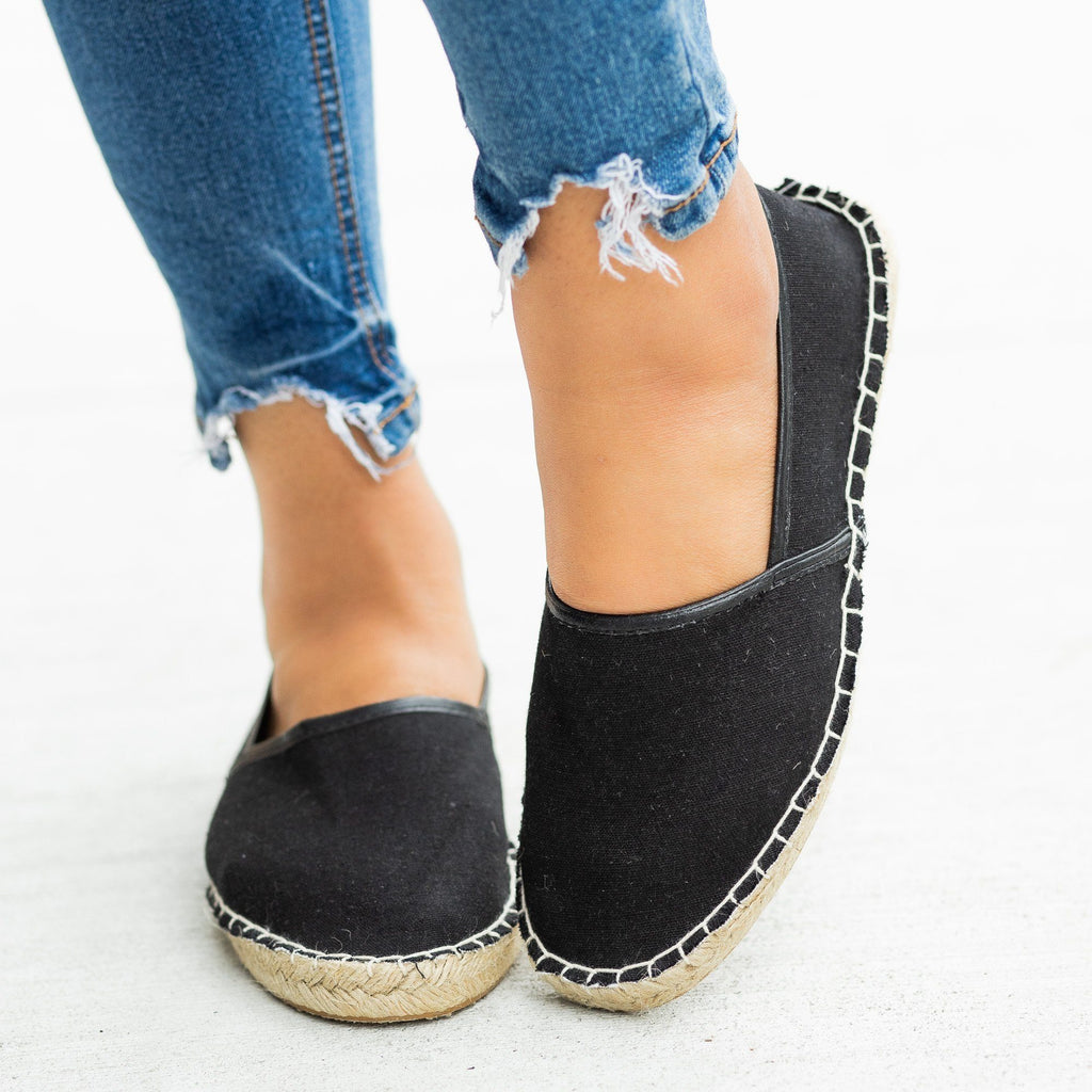 Womens Perfect Slip-On Espadrille Flats - Bucco - Black / 5