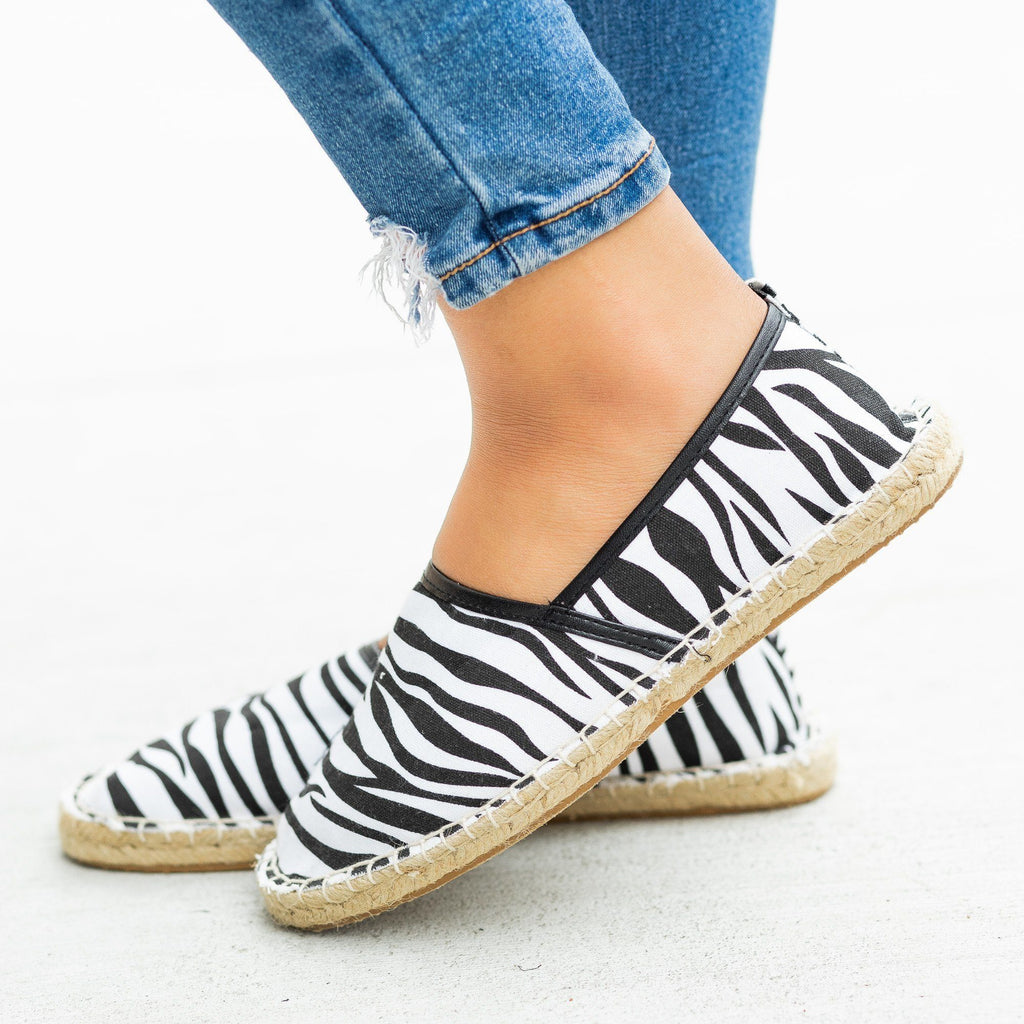 Womens Perfect Slip-On Espadrille Flats - Bucco - Zebra / 5