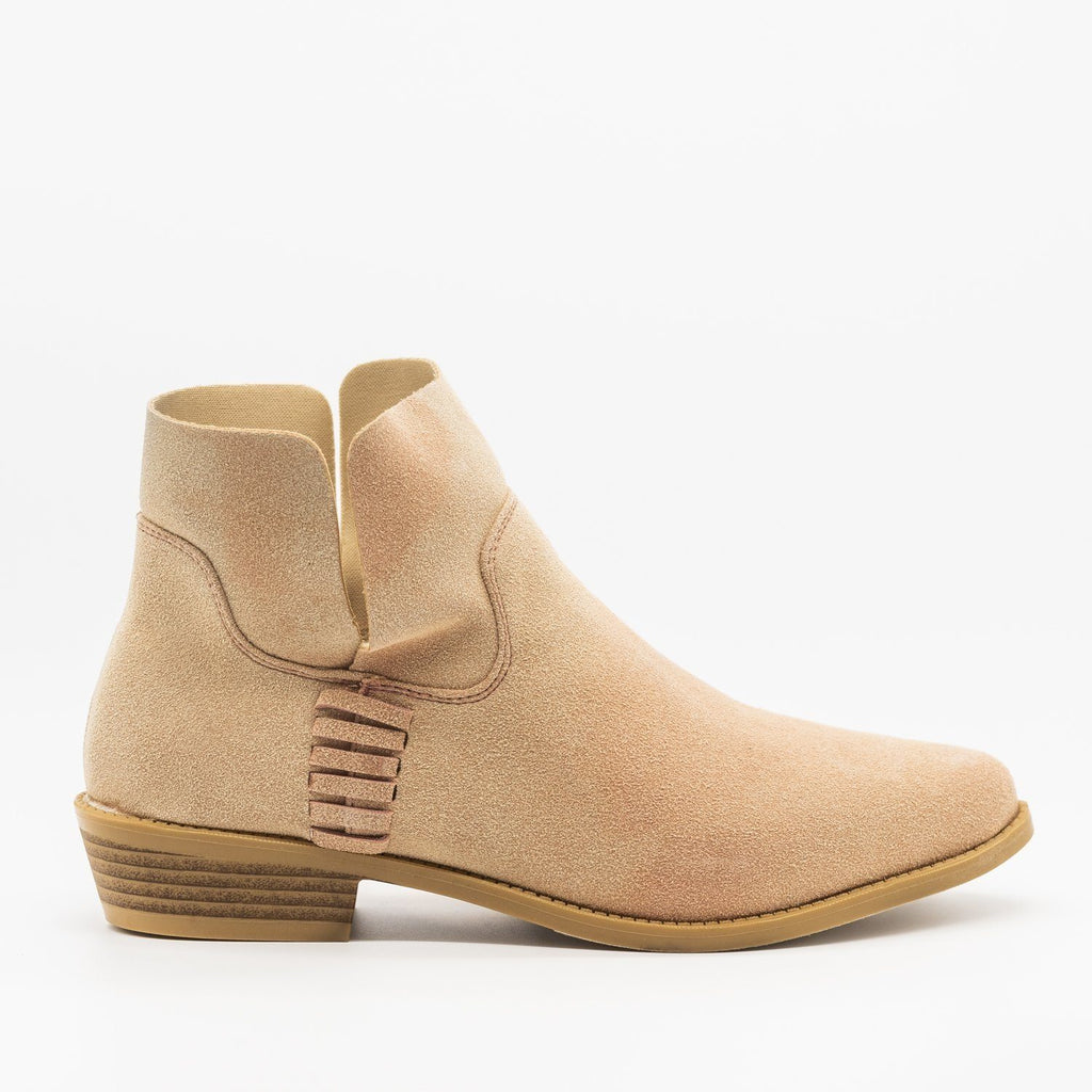 Womens Perfect Stitched Ankle Booties - ML Shoes - Blush / 5