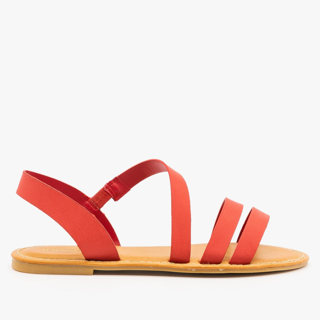 Womens Perfect Strappy Sandals - Bamboo Shoes - Red / 5