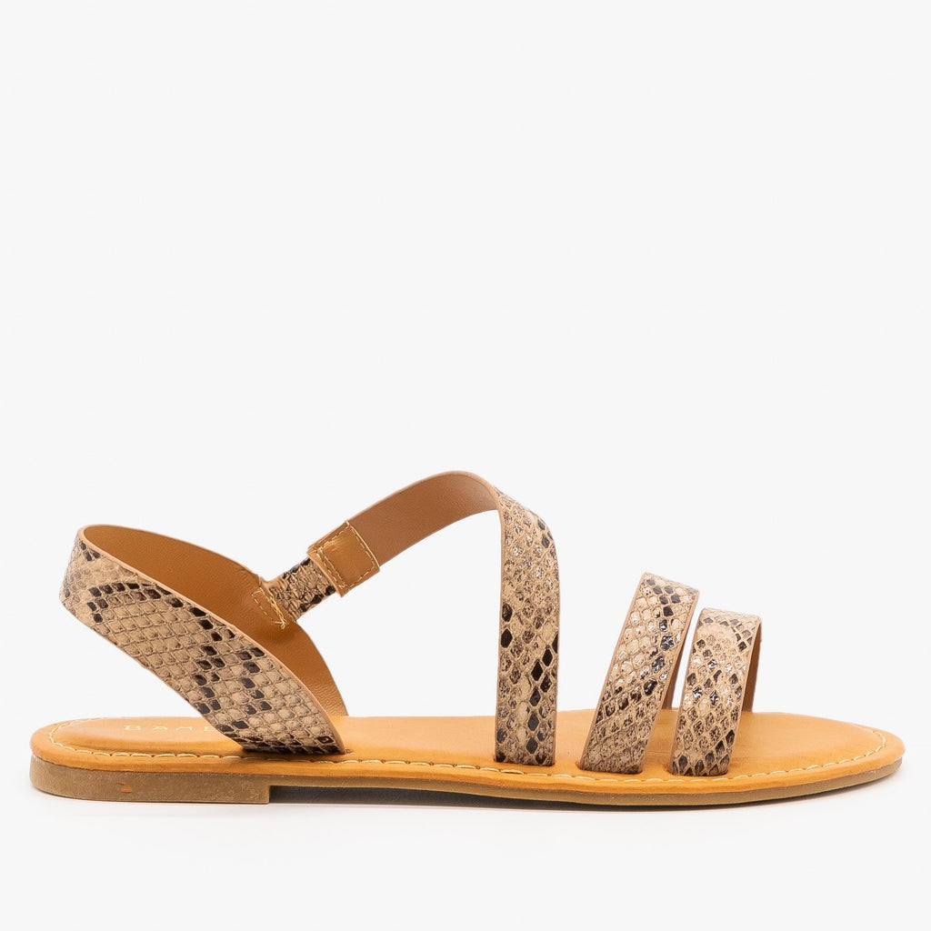 Womens Perfect Strappy Sandals - Bamboo Shoes - Natural Snake / 5