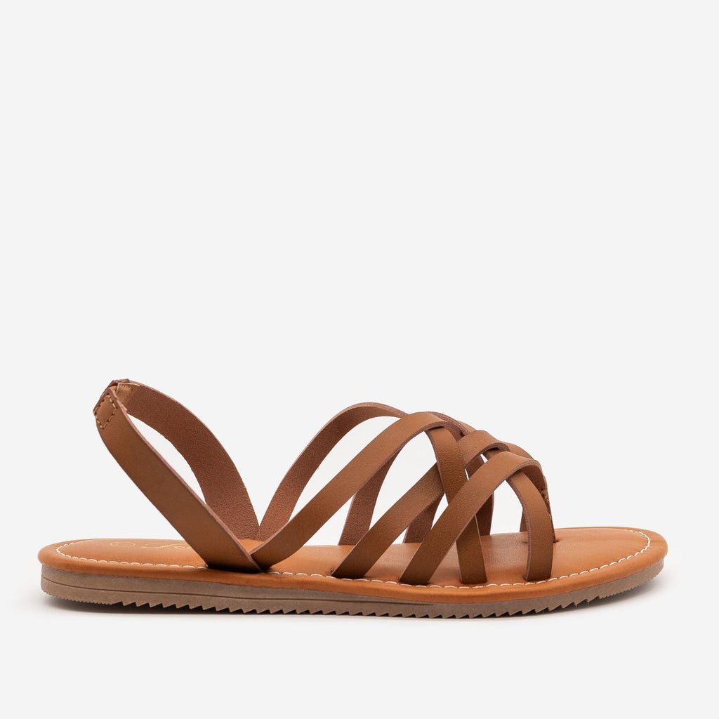 Women's Perfect Strappy Slingback Sandals - Forever - Tan / 5