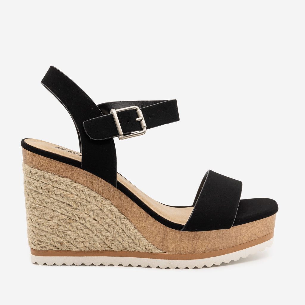 Women's Perfect Summer Espadrille Wedges - Soda Shoes - Black / 5