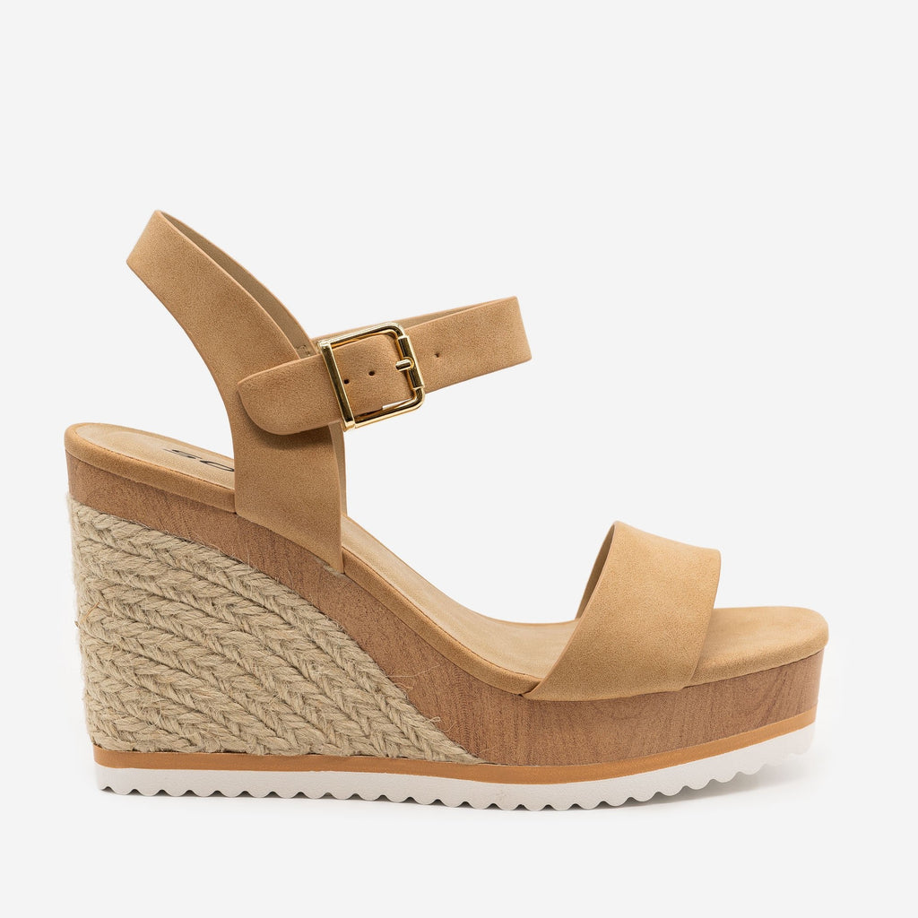 Women's Perfect Summer Espadrille Wedges - Soda Shoes - Camel / 5