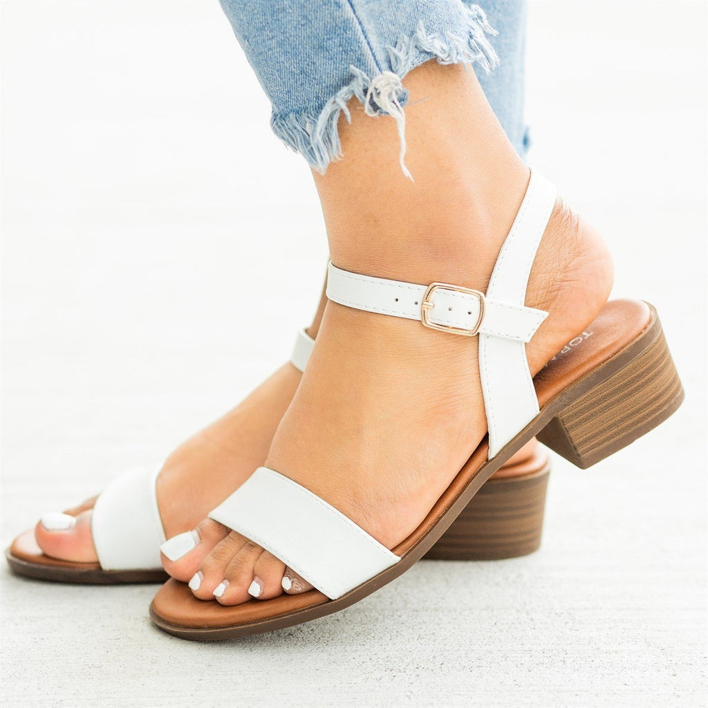 Womens Perfect Summer Mid-Heel Sandals - Top Moda - White / 5