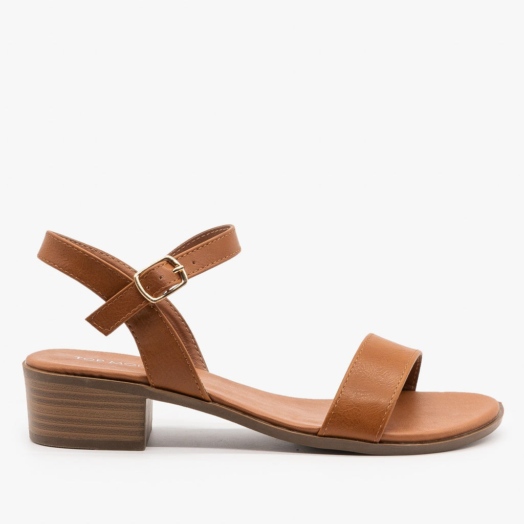 Womens Perfect Summer Mid-Heel Sandals - Top Moda - Tan / 5