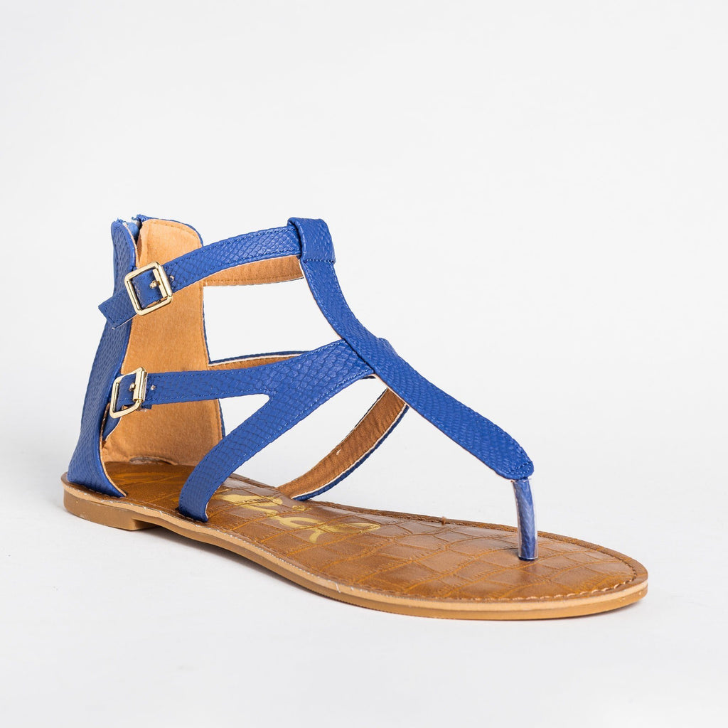 Womens Perfect Thong-Toed Gladiator Sandals - Qupid Shoes - Blue / 5