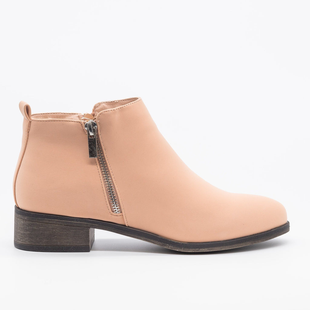 Womens Perfect Zipper Booties - Bamboo Shoes - Blush / 5