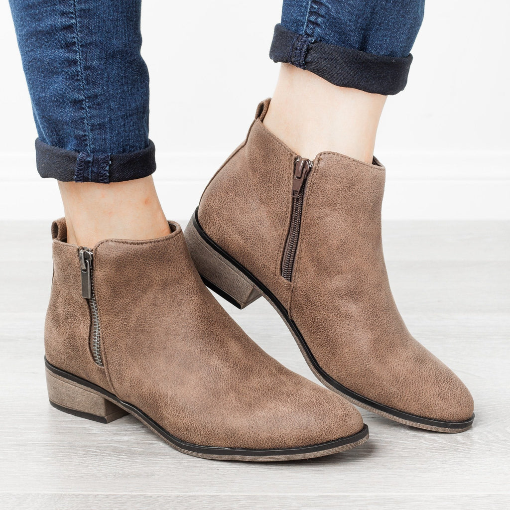 Womens Perfect Zipper Booties - Bamboo Shoes - Taupe / 5