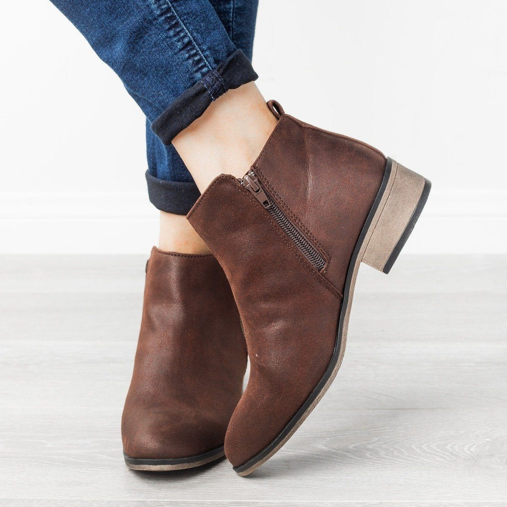Womens Perfect Zipper Booties - Bamboo Shoes - Brown / 5