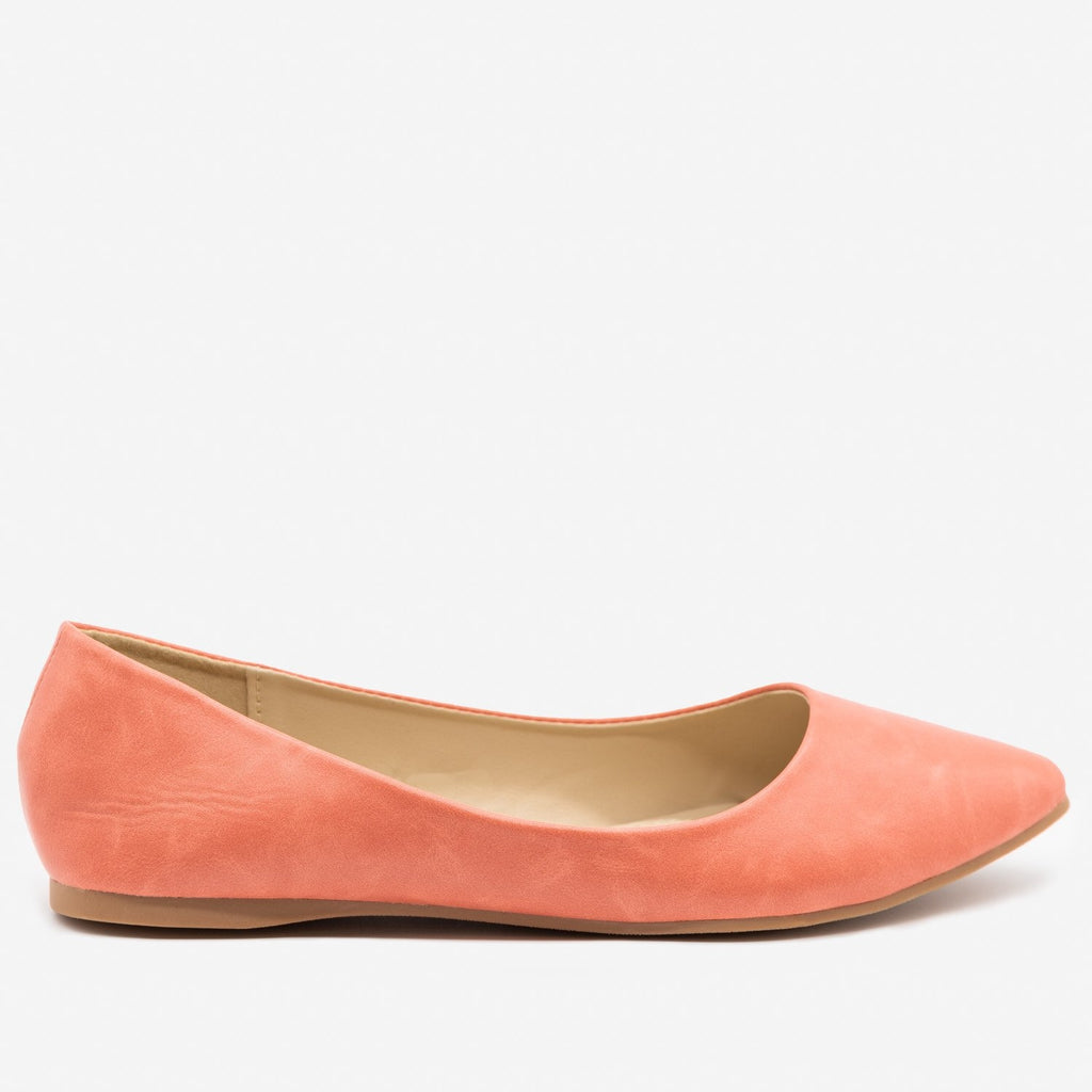 Women's Perfectly Peach Pointed Toe Flats - Bella Marie
