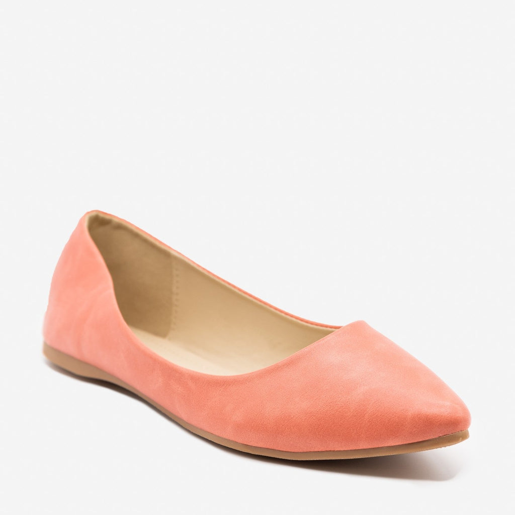 Women's Perfectly Peach Pointed Toe Flats - Bella Marie - Peach / 5