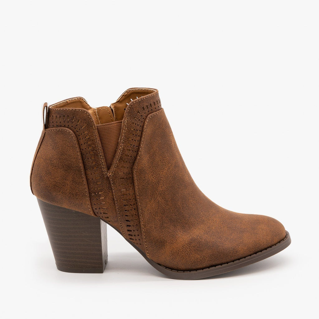 Womens Perforated Ankle Booties - Qupid Shoes