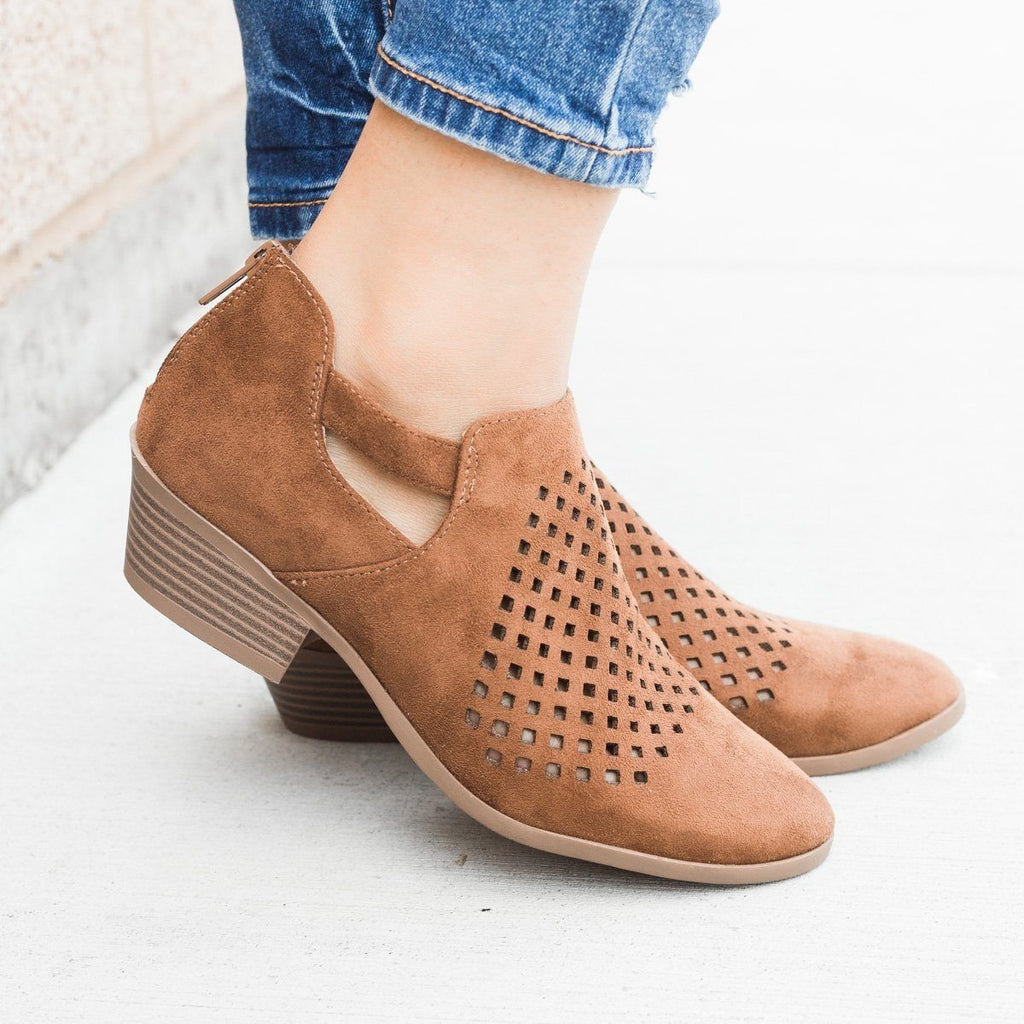 Womens Perforated Block Heel Ankle Booties - Soda Shoes - Chestnut / 5