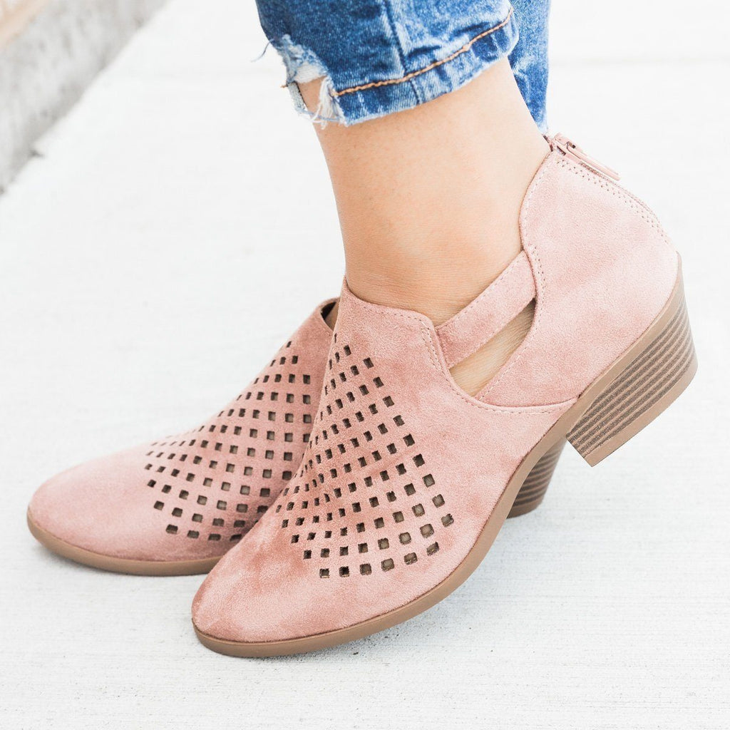 Womens Perforated Block Heel Ankle Booties - Soda Shoes - Dusty Blush / 5