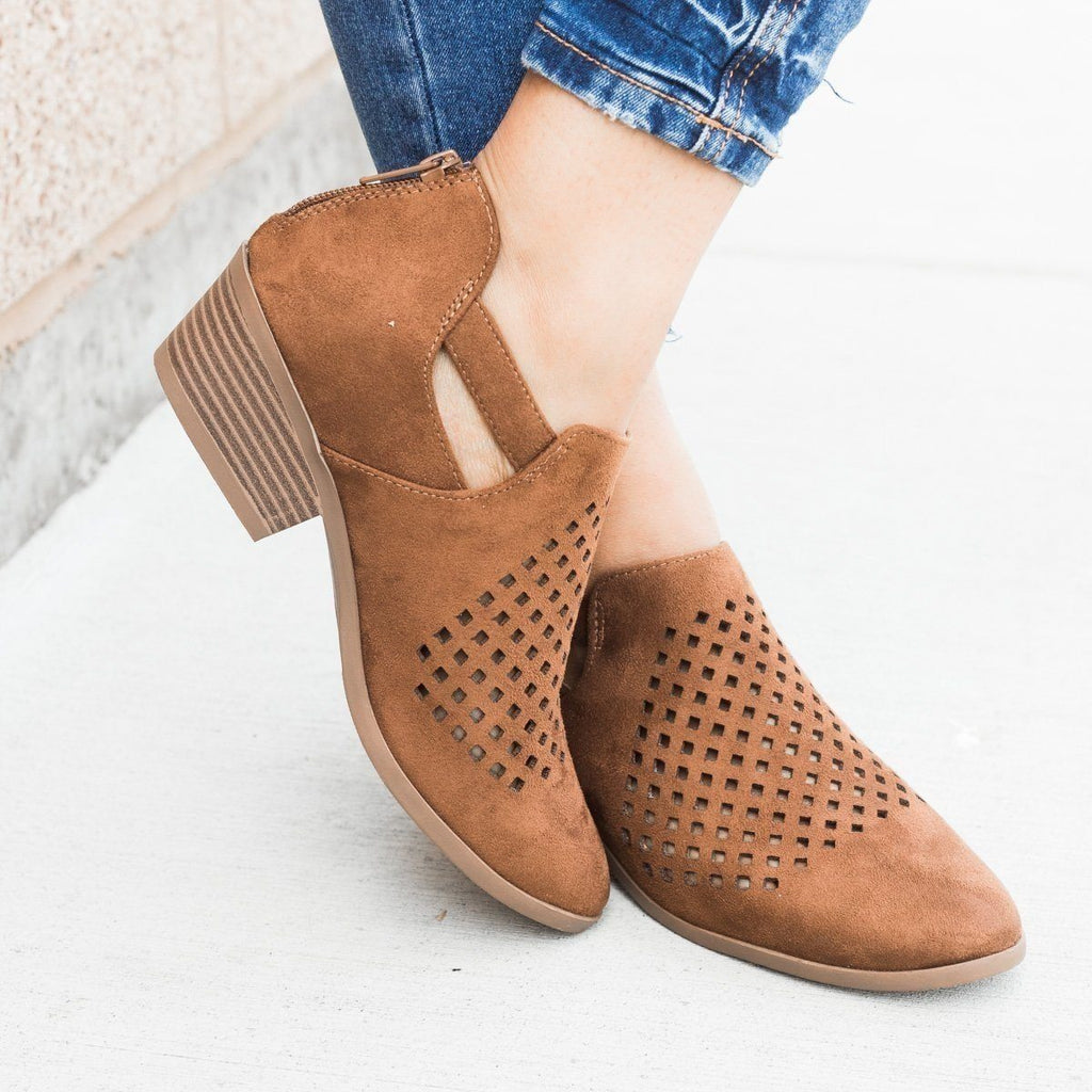 Womens Perforated Block Heel Ankle Booties - Soda Shoes