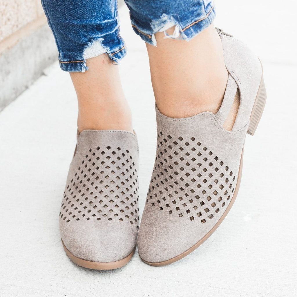 Womens Perforated Block Heel Ankle Booties - Soda Shoes - Soft Gray / 7.5