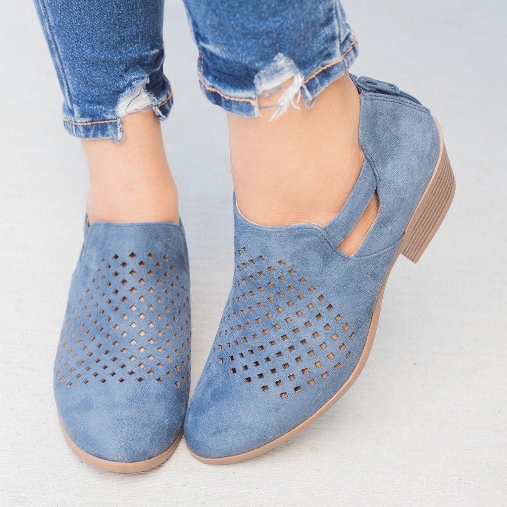 Womens Perforated Block Heel Ankle Booties - Soda Shoes - Dusty Blue / 5