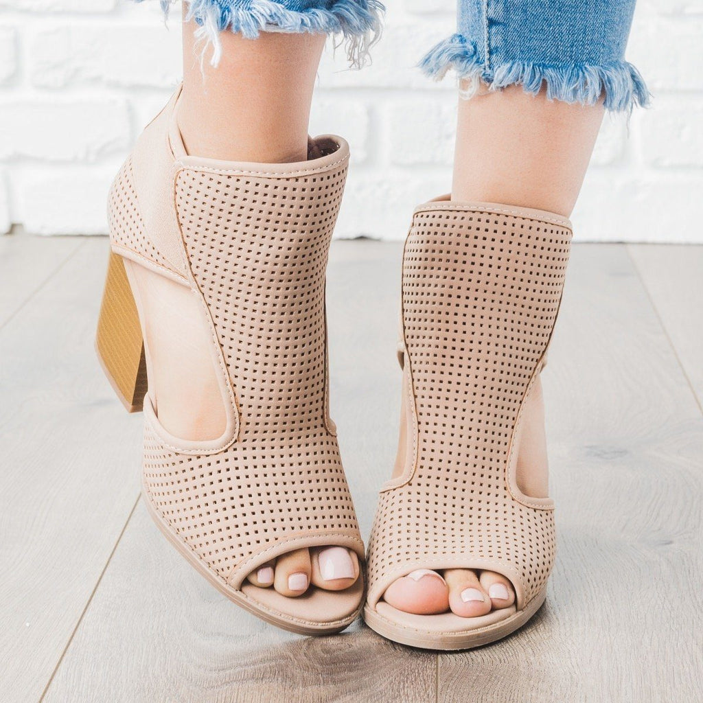 Womens Perforated Cut Out Heel Booties - Qupid Shoes