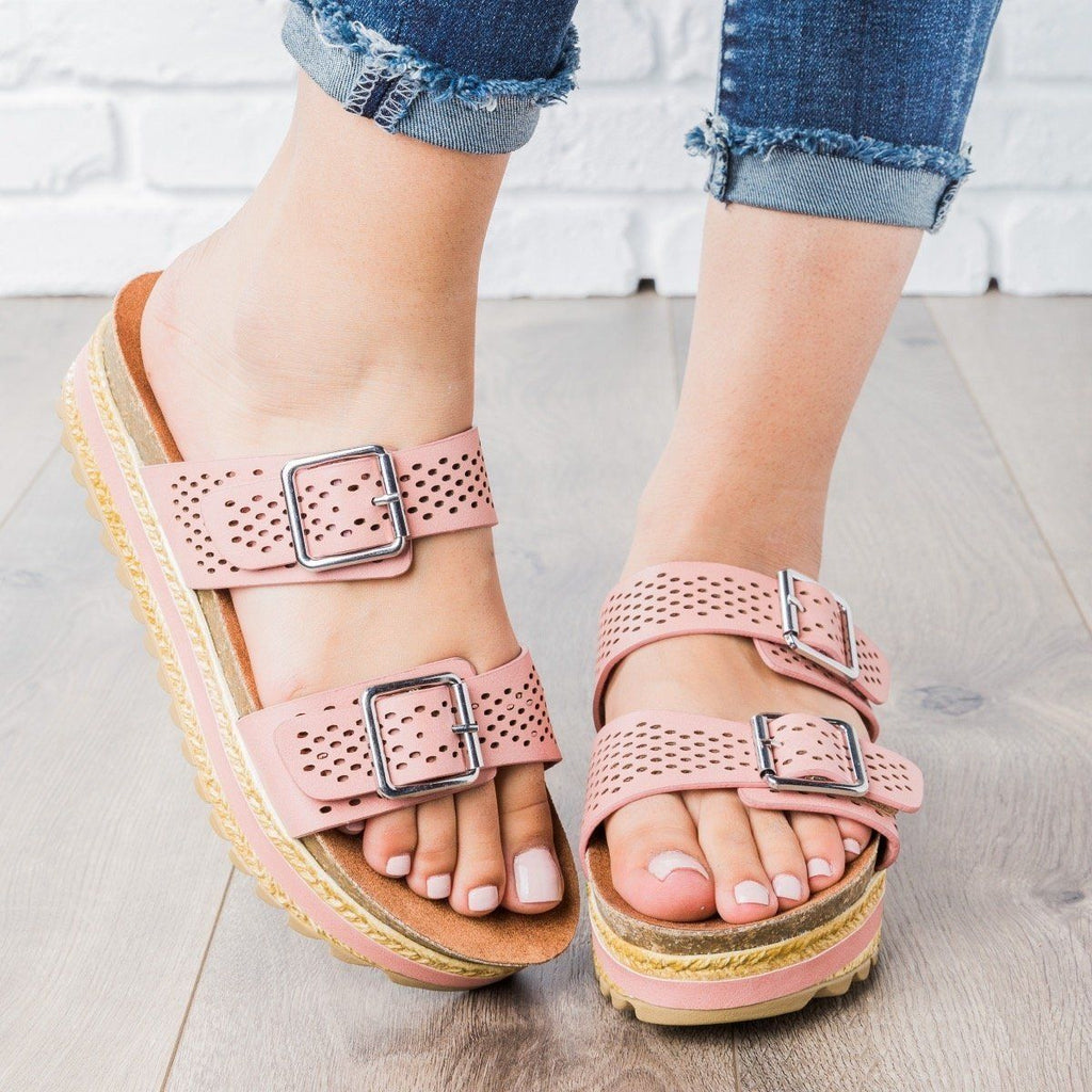 Womens Perforated Double Buckle Platform Slides - Bamboo Shoes - Dark Blush / 5