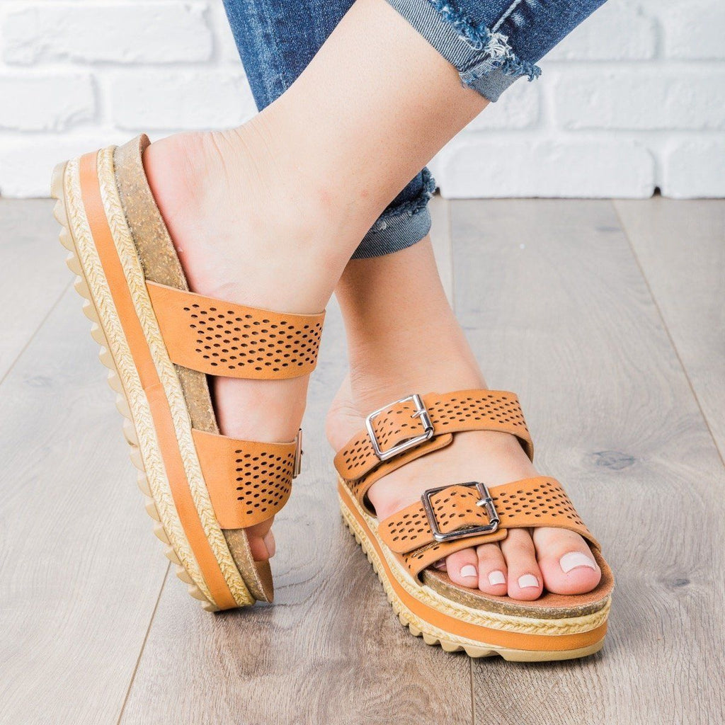 Womens Perforated Double Buckle Platform Slides - Bamboo Shoes - Tan / 5