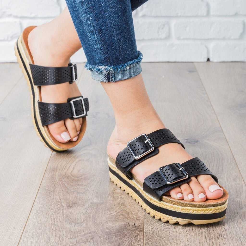 Womens Perforated Double Buckle Platform Slides - Bamboo Shoes