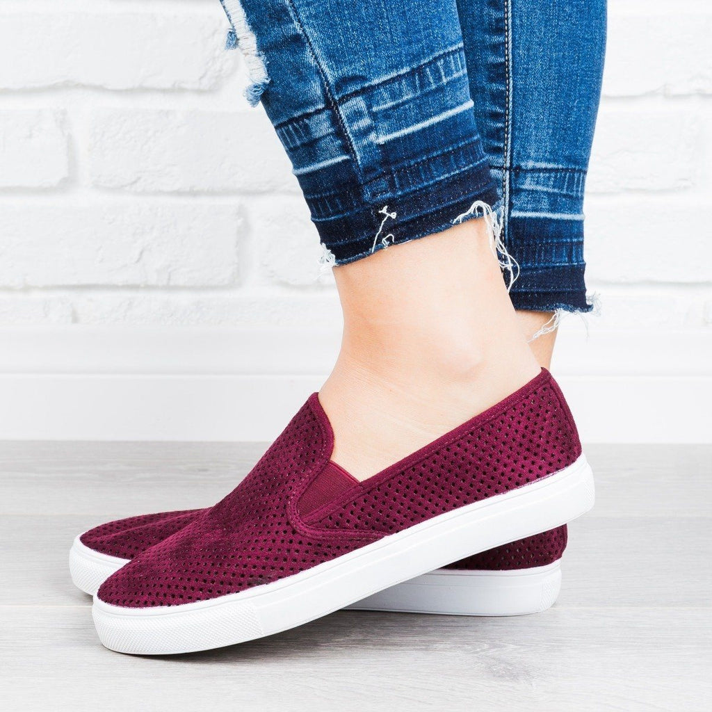 Womens Perforated Slip-On Sneakers - Anna Shoes - Wine / 9