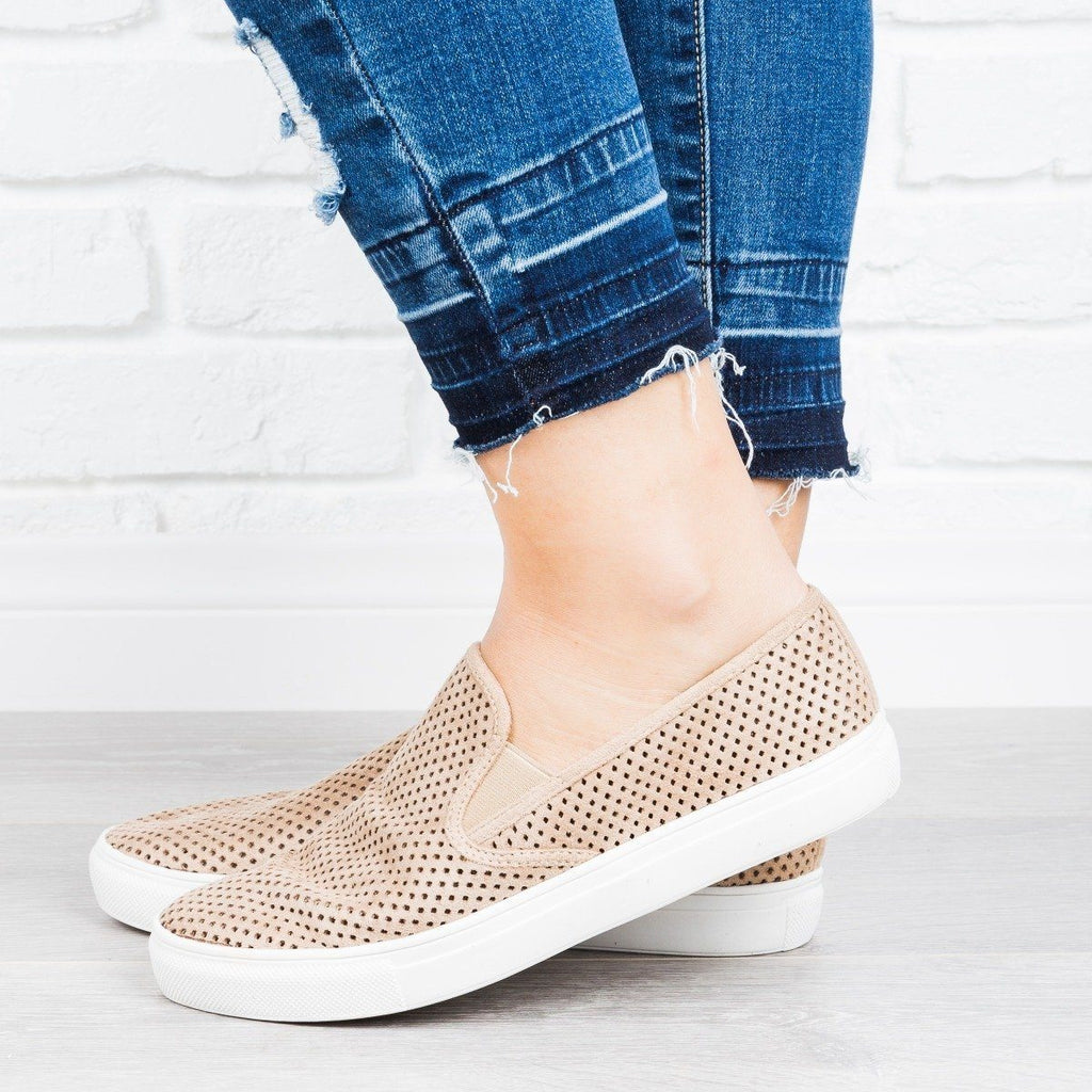 Womens Perforated Slip-On Sneakers - Anna Shoes - Beige / 5