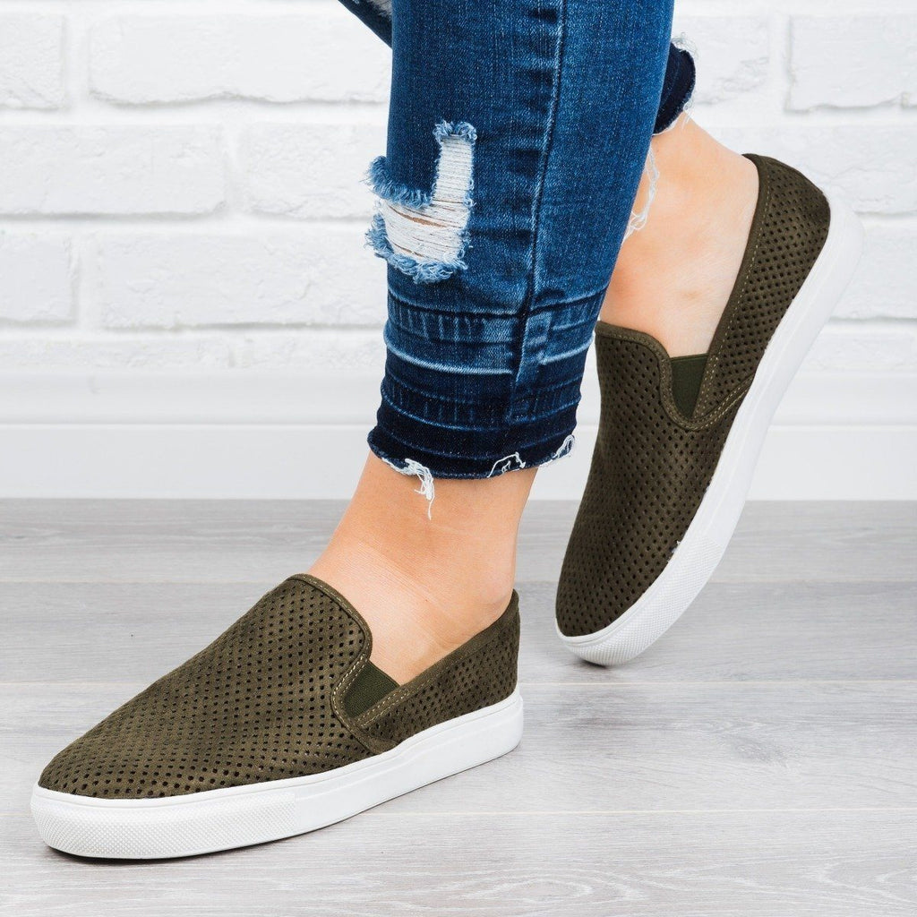 Womens Perforated Slip-On Sneakers - Anna Shoes - Olive / 9