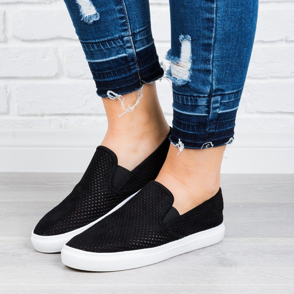 Womens Perforated Slip-On Sneakers - Anna Shoes - Black / 5