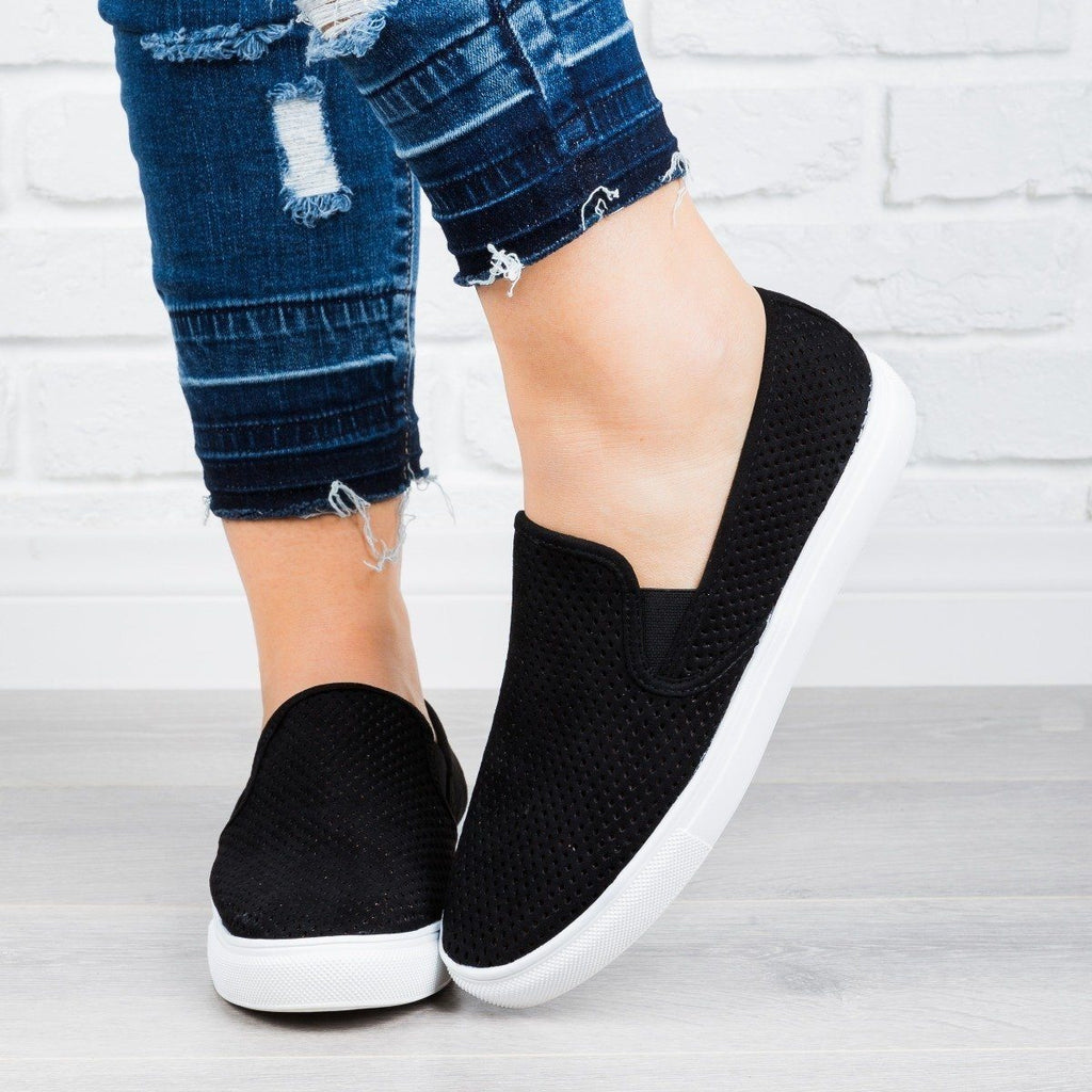 Womens Perforated Slip-On Sneakers - Anna Shoes