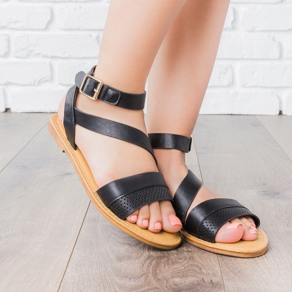 Womens Perforated Strap Sandals - Bamboo Shoes
