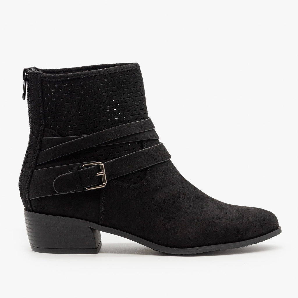 Womens Perforated Strappy Ankle Booties - City Classified Shoes - Black / 5