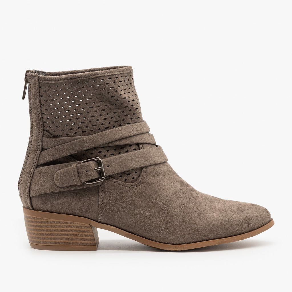 Womens Perforated Strappy Ankle Booties - City Classified Shoes - Charcoal / 5