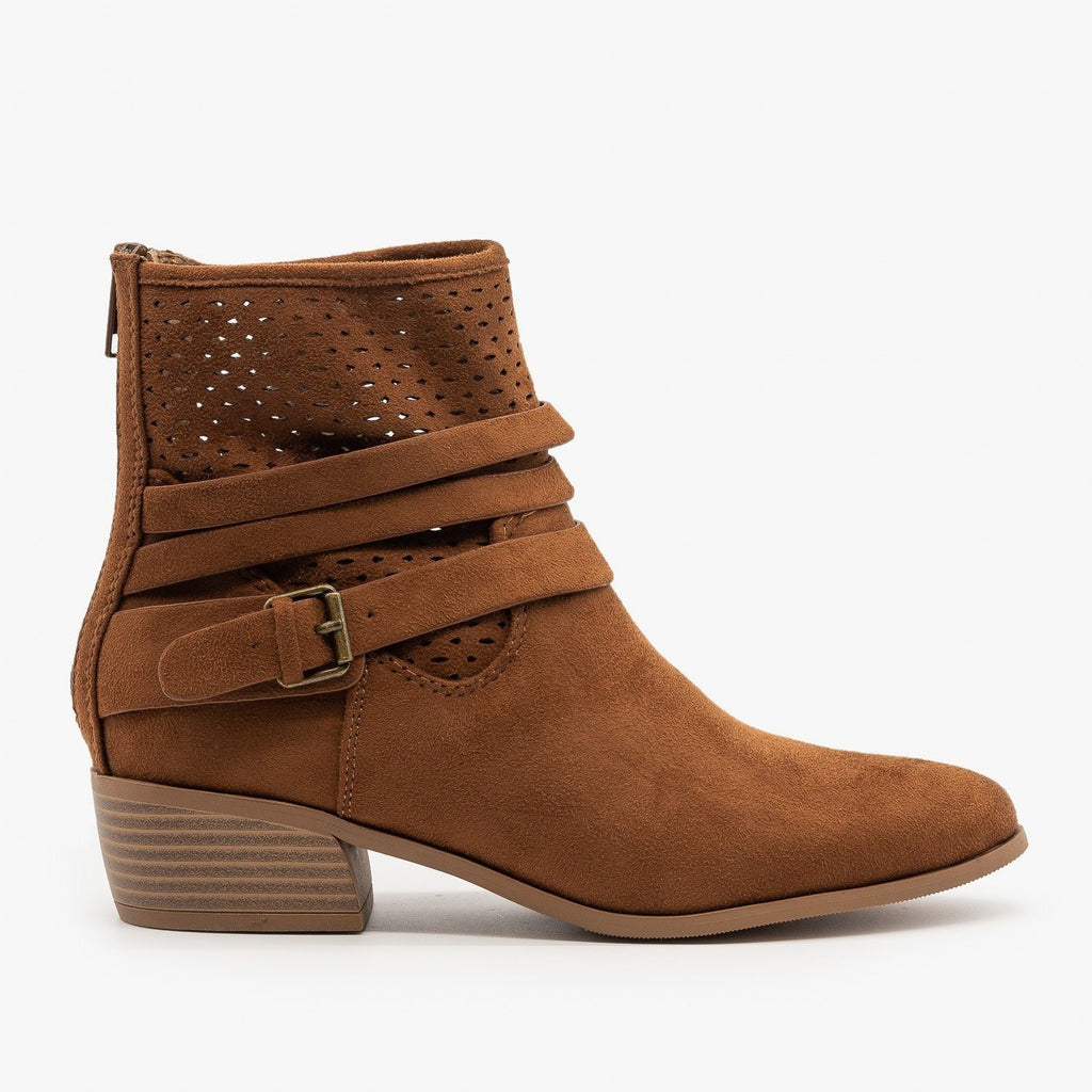 Womens Perforated Strappy Ankle Booties - City Classified Shoes - Cognac / 5