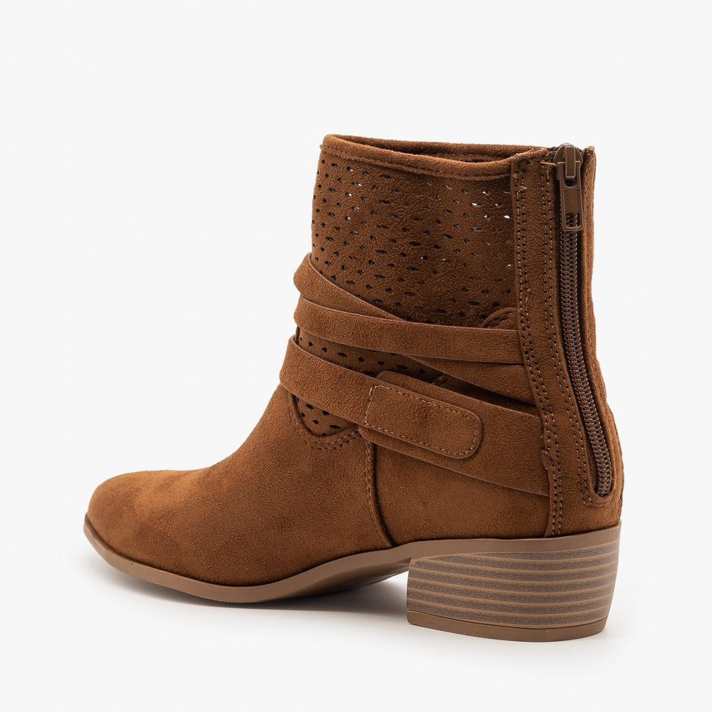 Womens Perforated Strappy Ankle Booties - City Classified Shoes