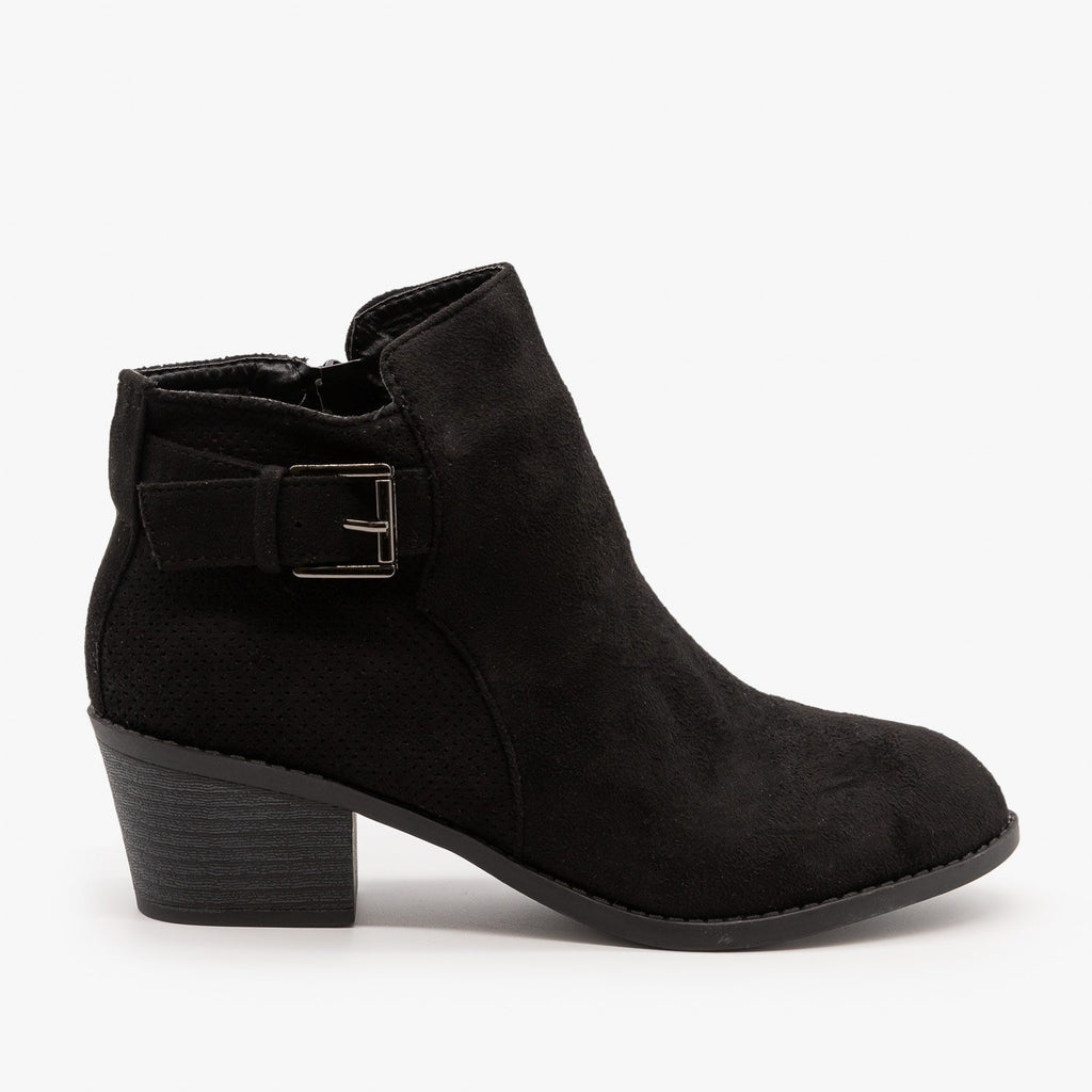 Womens Pinhole Buckle Booties - Forever - Black / 5